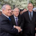 Israeli President Reuven Rivlin, Prime Minister Benjamin Netanyahu, and Blue and White leader Benny Gantz
