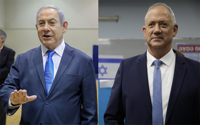 Israeli Prime Minister Benjamin Netanyahu and his political rival Benny Gantz