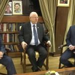 Israeli Prime Minister Benjamin Netanyahu and his political rival Benny Gantz and Israeli President Reuven Rivlin