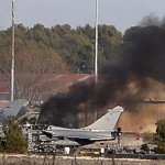 In Spain combat jet crashed during a training exercise, killing 10 people