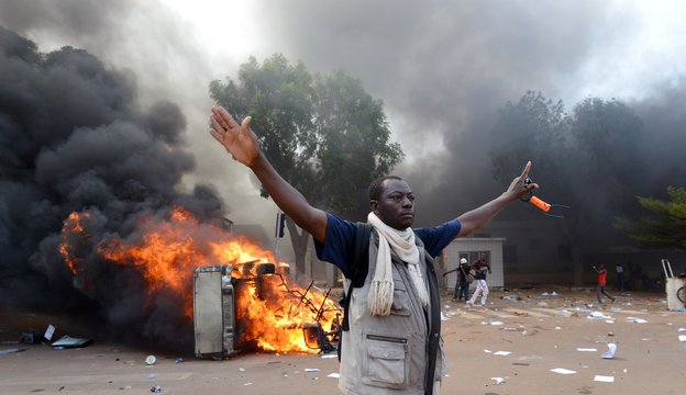 African country of Burkina Faso mob set fire to the parliament