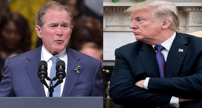 Former US President George W. Bush and current President Donald Trump