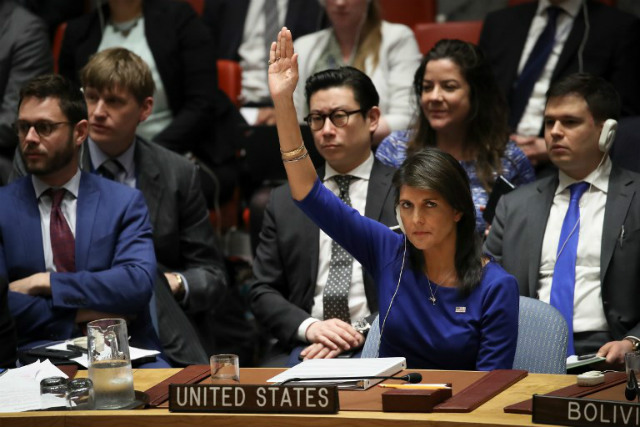 Only one hand was raised in the support of US resolution, and he was the US Ambassador Nickie Heli in the Security Council.