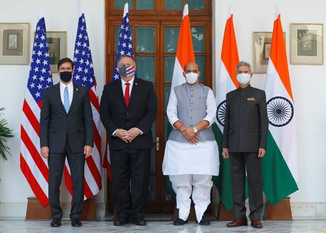 US Secretary of State Mike Pompeo and Secretary of Defense Mark Esper arrive in New Delhi on a two-day visit to India