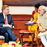 International Olympic Committee President Thomas Bach and Indian Prime Minister Narendra Modi