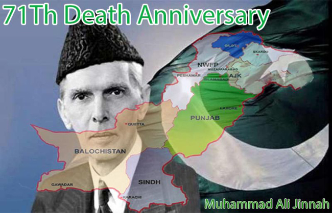 Founder of Pakistan Quaid-e-Azam Muhammad Ali Jinnah's 71st anniversary is celebrated across the country today with great devotion and respect.