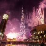 Fireworks at Burj Khalifa building 409 equipment has been installed