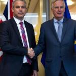 British Brexit Minister Stephen Barclay and EU negotiator Michel Barnier
