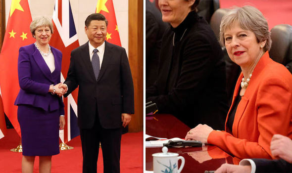 British Prime Minister Theresa May and Chinese President Xi Jinping
