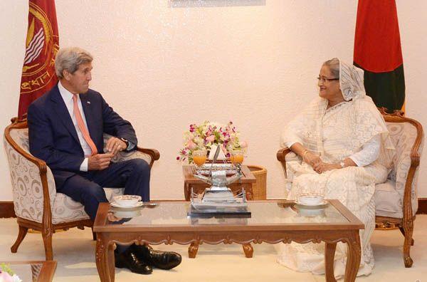 Bangladeshi Prime Minister Sheikh Hasina and US Secretary of State John Kerry