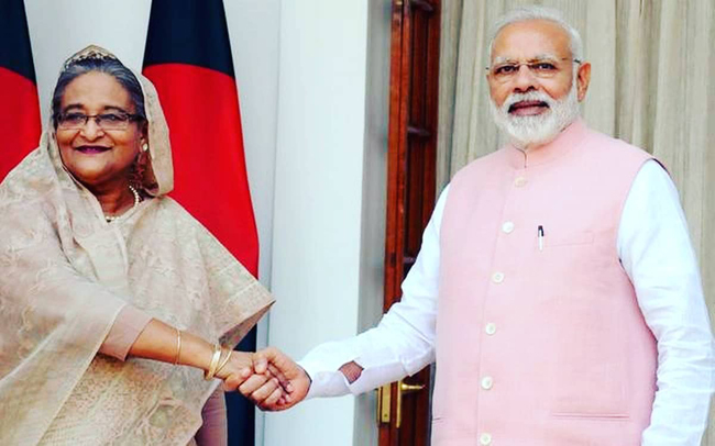 Indian Prime Minister Narendra Modi and his counterpart Hasina Wajid