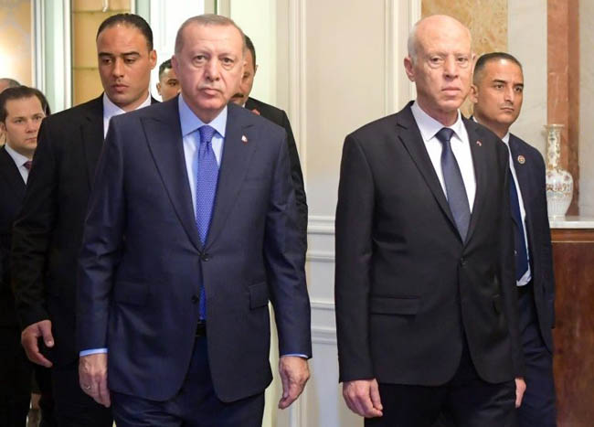 Turkish President Recep Tayyip Erdogan and Tunisian President Kais Saied