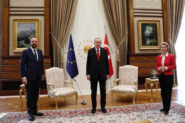 Turkish President Recep Tayyip Erdoan at the Presidential Palace with European Council President Charles Michel and European Commission President Ursula von der Leyen