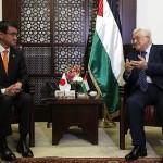 Japanese Foreign Minister Taro Kono and Palestinian President Mahmood Abbas