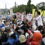 Japanese people outside the parliament against the proposed security bill participated in a large demonstration