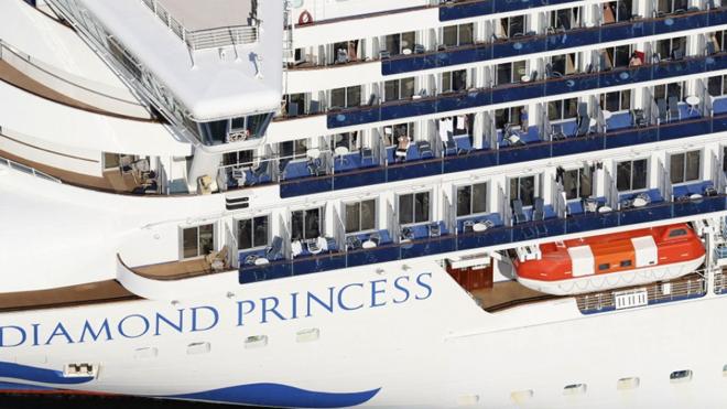 Diamond Princess Cruise ship standing on the port of Japan