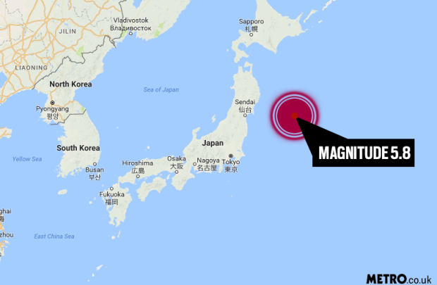 The earthquake shock was felt on the east coast of Japan, with its intensity 5.8 on the reactor scale