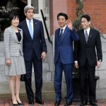 Japan's Prime Minister Shinzo Abe and US Secretary of State John Kerry's residence while attending dinner