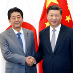 Japan Prime Minister Shinzo Abe and Chinese President Xi Jinping