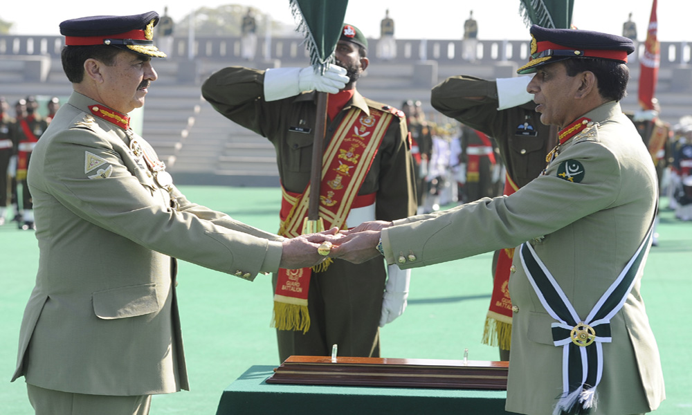 General Kayani, the army chief of command'' stick'' symbolic reference to General Raheel Sharif