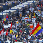 Several thousand people marched in the southern Spain slept on the streets despite the rain