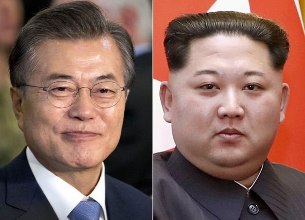South Korean President Moon J. and North Korean leader Kim Jong In