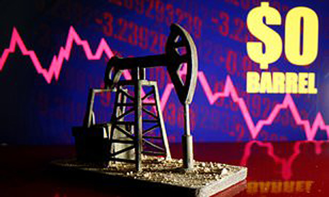 Sellers of crude oil were forced to pay the buyer $ 37.63 per barrel in addition to oil