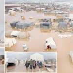 Flood situation in tent camps and severe cold weather have left Syrian refugees helpless.