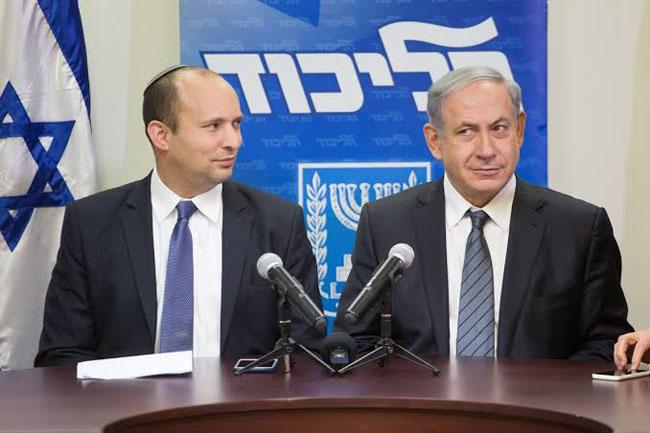 Israeli Prime Minister Benjamin Netanyahu and right-wing hardline leader Naftali Bennett