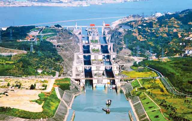 Construction of the Three Gorges Dam on Yangtze River began in 1994