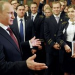 Russian President Putin in St Petersburg university students speaking staff