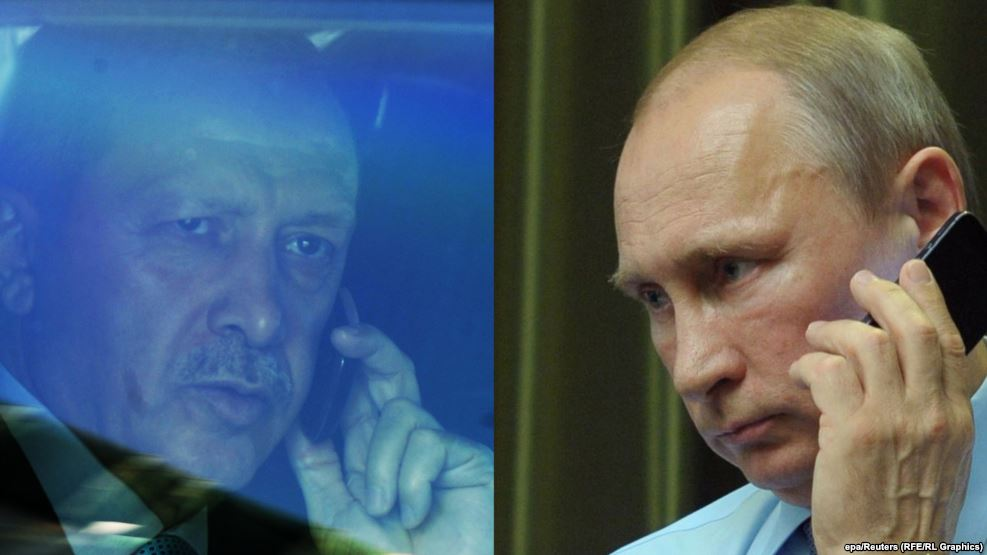 Russian President Vladimir Putin and Turkish President Recep Tayyip Erdogan between telephonic contact