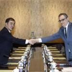 Russia's Deputy Foreign Minister Igor Morgulov and Chinese Deputy Foreign Minister Kong Xuanyou