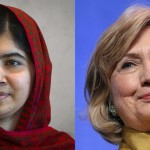 Former US Secretary of State Hillary Clinton and Nobel Prize-winning Pakistani schoolgirl Malala Yousafzai