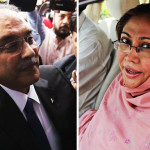 Former President and Pakistan Peoples Party (PPP) Co-Chairman Asif Ali Zardari and his colleague Faryal Talpur