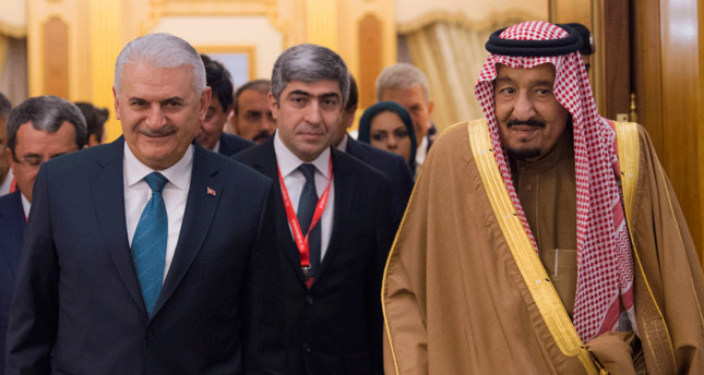 Saudi Arabia King Salman bin Abdulaziz and Turkish Prime Minister Binali Yildirim