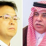 Saudi Minister of Commerce and Investment Dr. Majid Al-Qasabi and Japanese Minister of Industry and Trade Hiroshige Seko