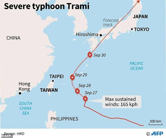 Typhoons Trami will move to Japan's island Miyakojima, with a speed of 13 kms per hour.