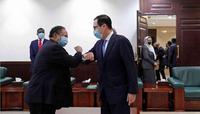 Sudanese Prime Minister Abdalla Hamdok welcomes US Treasury Secretary Steven Manuchehr
