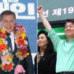 The two main presidential candidates from the Democratic Party, Moon Jae-in and Moderate Party Ahn Cheol-soo