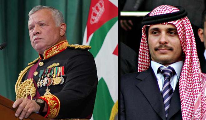 Abdullah II bin Al-Hussein and former crown prince Hamza bin Hussein