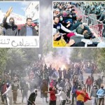 Protesters and security forces face off during violent protests against poverty, corruption and injustice.