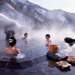 Naturally hot water ponds called onsen in Japanese