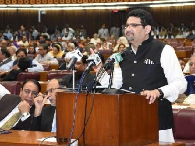 Presenting the budget of Finance Minister Dr Miftah Ismail 19-2018 during the National Assembly meeting
