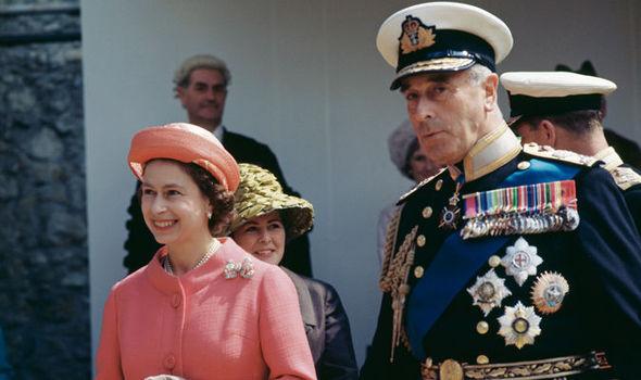 A Memorandum photo of Lord Mountbatten and Queen of Britain Elizabeth II