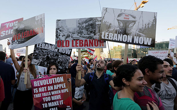 Thousands in Beirut government corruption and the ineffective part in the protests against.