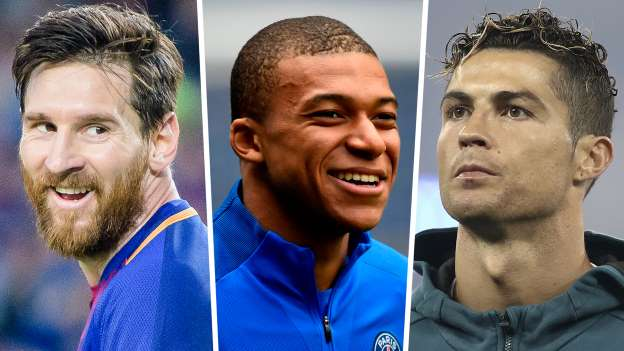 Lionel Messi, Cristiano Ronaldo and Mbappe