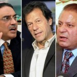 PML-N Nawaz Sharif, Imran Khan of Tehreek-e-Insaf and PPP's Asif Ali Zardari