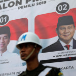 The current President Joko Widodo faces the tough competition of the former military general Prabowo Subianto in the presidential election