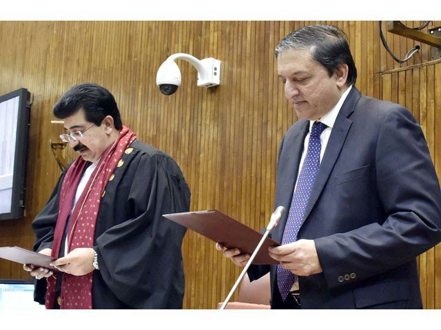 Nominated chairman Senate Sadiq Sanjani took oath from Sardar Yaqub Nasir